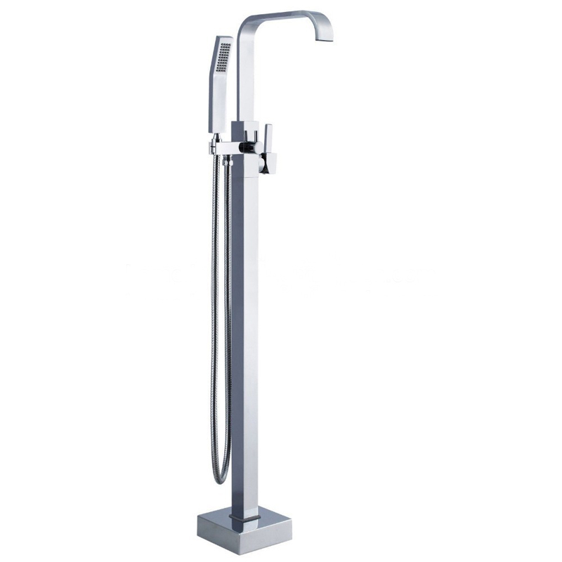 Floor Standing Bathtub Waterfall Faucet with Hand Shower Floor bathtub faucet