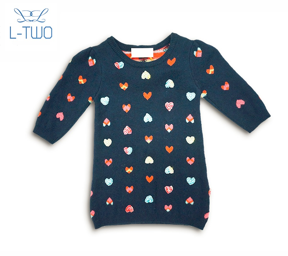 baby sweater/baby girl's short knitted dress jacquard pullover sweater for sale
