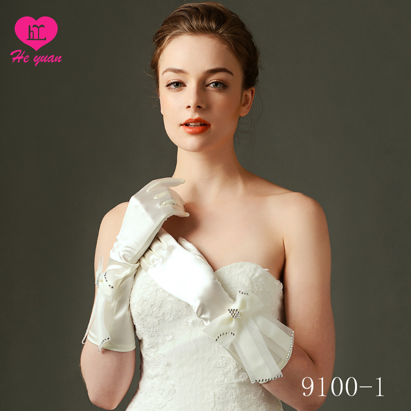 9100-1 Grace Fingerless Long Gathered and Beaded wedding Gloves on Sale