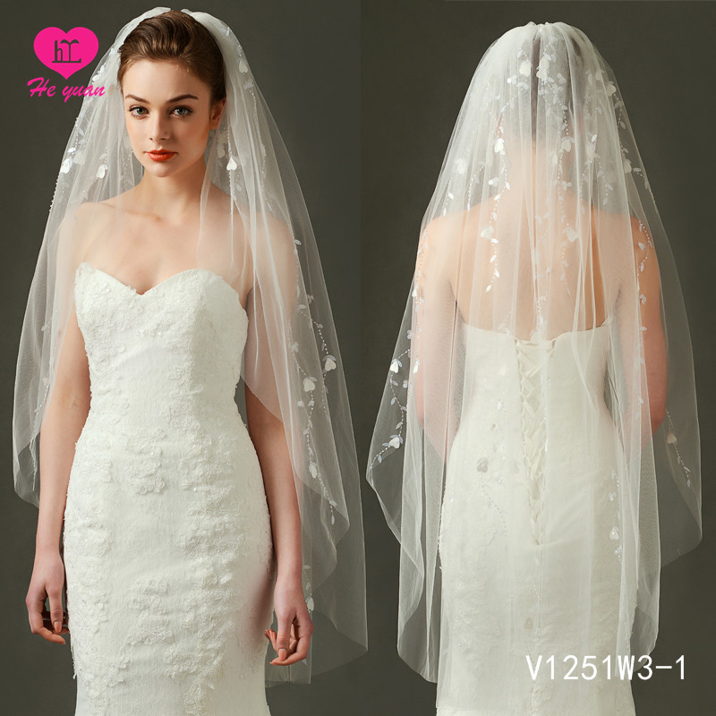 V1251W3-1 Elegant bridal veil Bigger factory hot sale beaded wedding accessories veil on Sale
