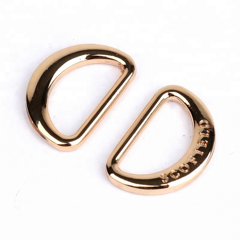 Luxury Quality Shiny Gold Metal D Ring With Custom Logo For Clothing for sale