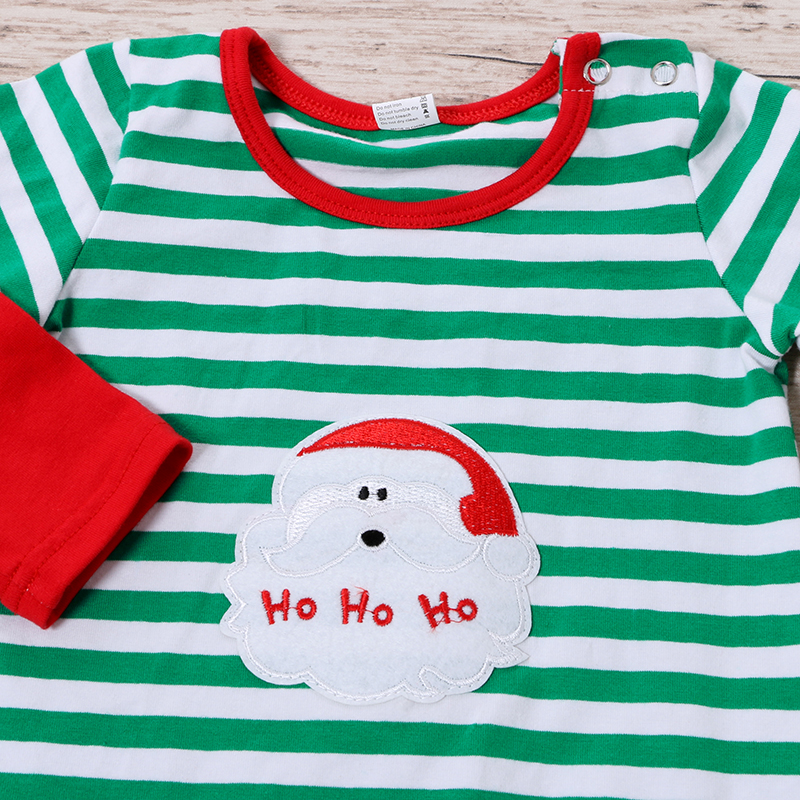 KY-NLTY-002 Striped Santa Printed Long Sleeve Kids One Piece jumpsuit for sale