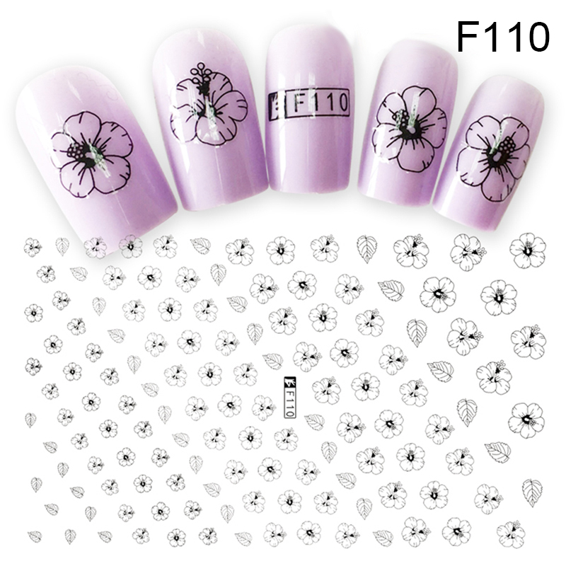 Flower Series Nail Water Decal Stickers Sakura Daisy Lavender Floral Pattern Transfer Sticker Manicure Nail Art Decoration sale