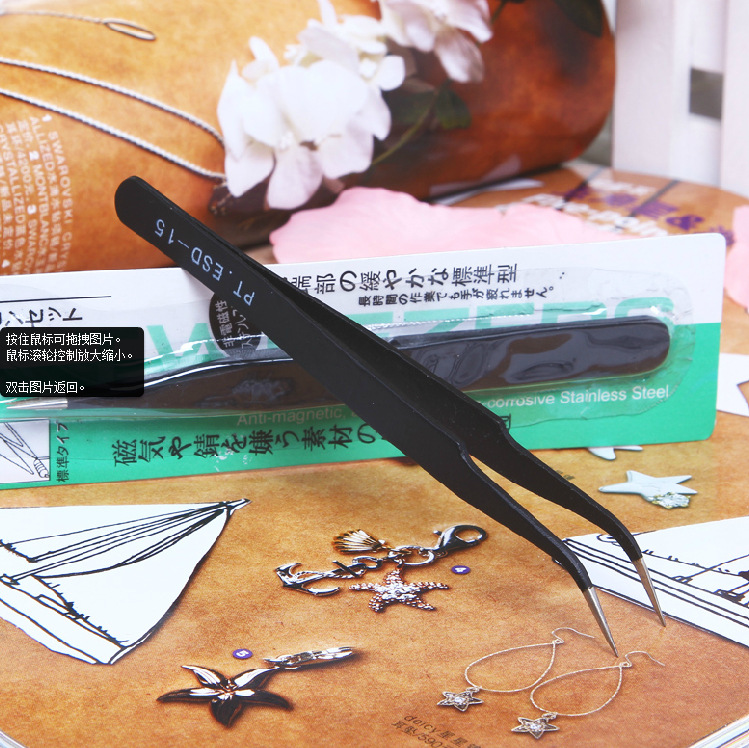 Rhinestone Picking Tool Eyelash Curved Tip Nippers Tweezer Curved Nail Tool Beauty Eye Makeup sale