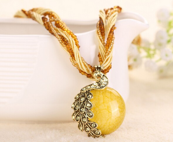 National Style Weaving Necklace Restoring Ancient Jewelry Sweater Necklace for sale