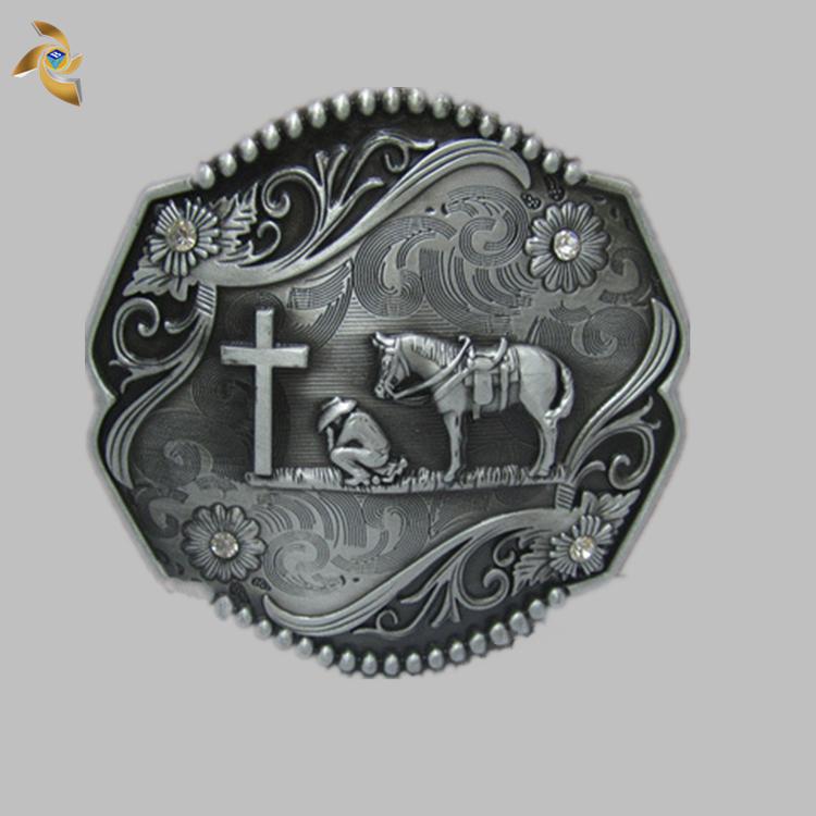 sale Custom Design Western Cowboy Old Silver Metal Belt Buckle For Men