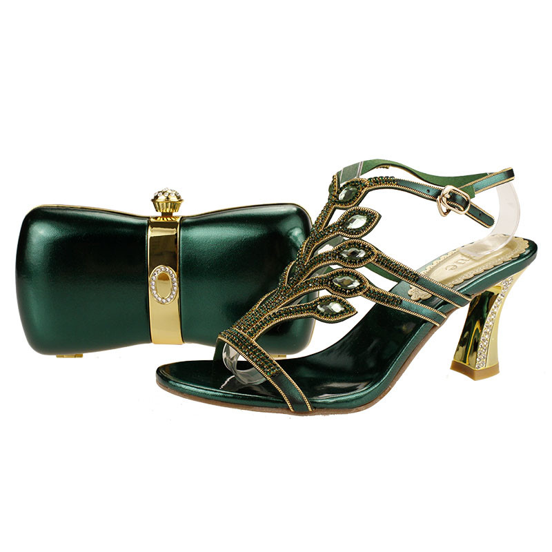 Italian charming ladies shoes and bags with stones for wedding and party