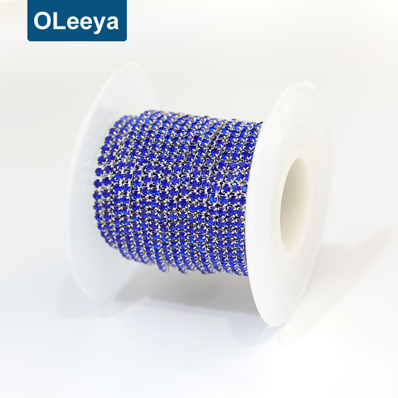 Oleeya manufacturing over 20 colors colorful ss6 2mm rhinestone cup chain trim rolls for rhinestone chain belts sale