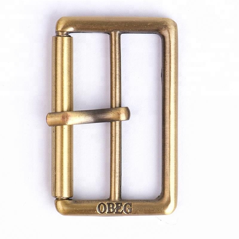 Engraved Logo Brsuhed Antique Brass Custom Metal Buckle For Bags for sale