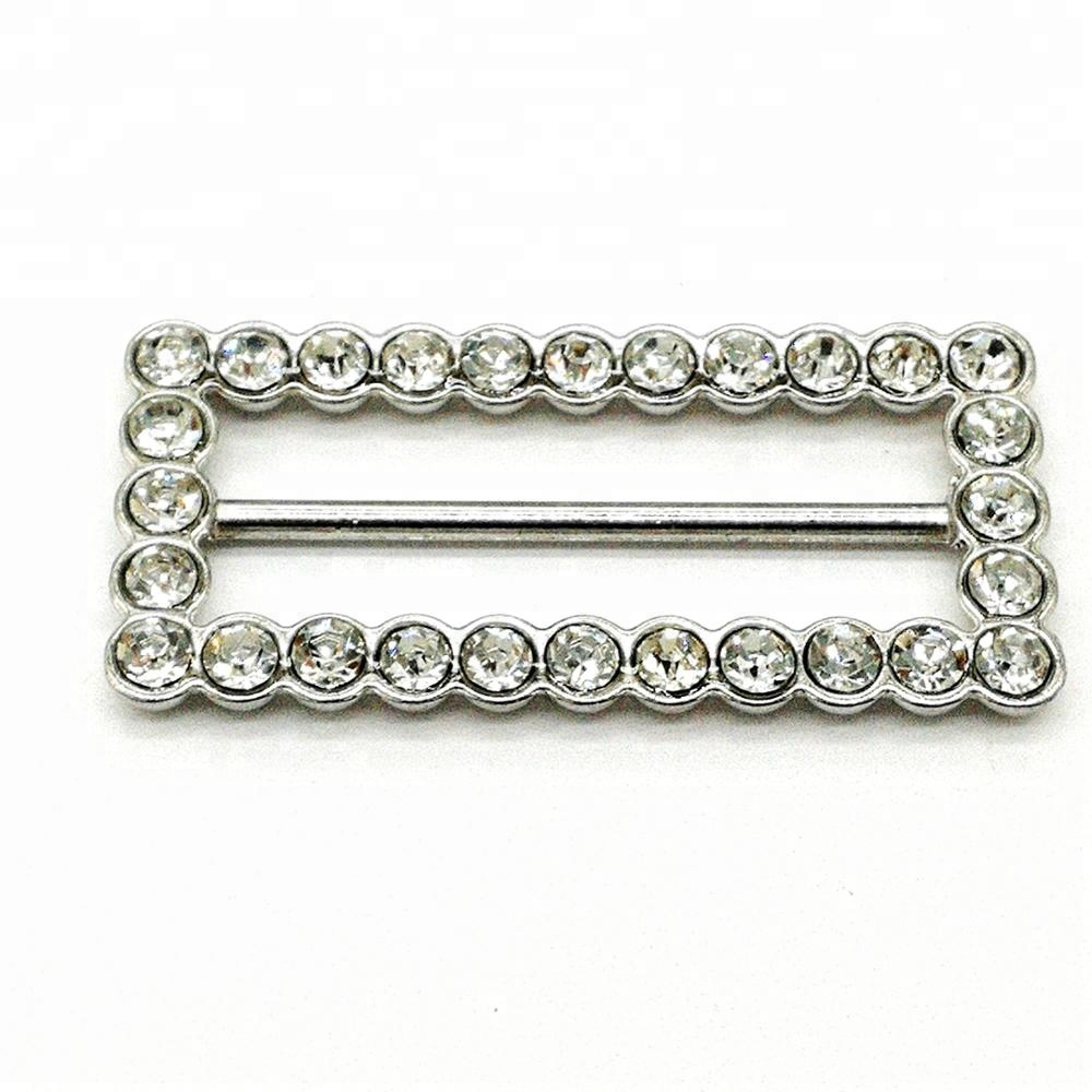 Fashion Decorative Metal Buckle With Rhinestone For Garments and Shoes for sale
