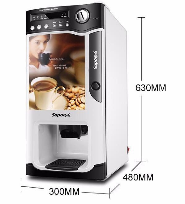 SC-8703 Latest european design 3 hot drinks selections coffee machine coin operated water vending machine