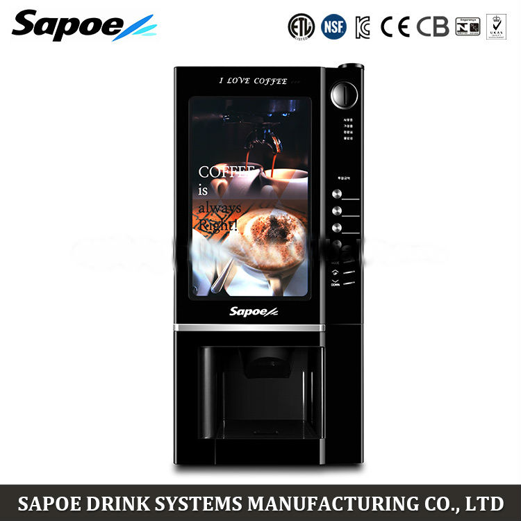 SC-8802 BLK Professional touch screen automatic instant coffee coin operated vending machine for public place