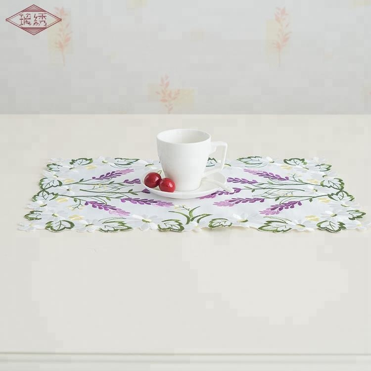 LongShow hot selling violet lavender design handmade satin cut-work embroidered place mat tablecloth for sale
