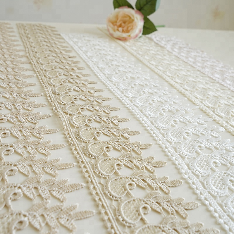 Women collar clothing sequin decorative cotton embroidery lace trim for sale