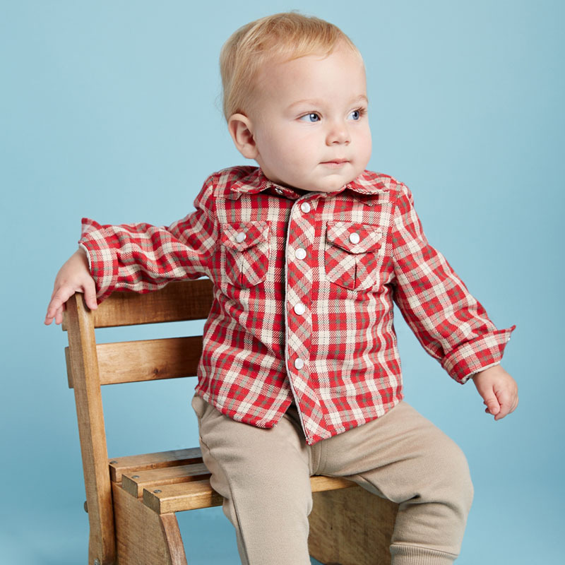 DB2275 dave bella 2015 autumn baby boys fashionable tartan cotton baby tops baby shirts for sale