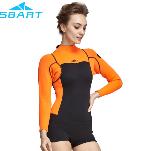 SBART one piece womens neoprene wetsuit 2mm spring suit long sleeve with short leg surf wetsuit sale