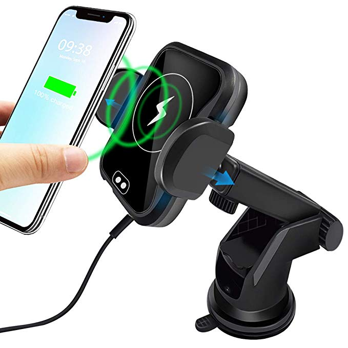 2 in 1 infrared Sensor QI Fast Wireless Car Charger Bracket 10W Smart Infrared Sensing Wireless Car Charger Holder For Phone For Sale