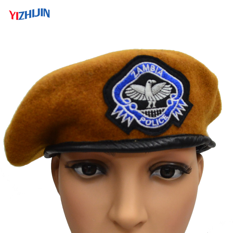 c317188e Cheap Wholesale Custom Embroidered Beret Military Wool Police Beret Cap  Orange Hats sale