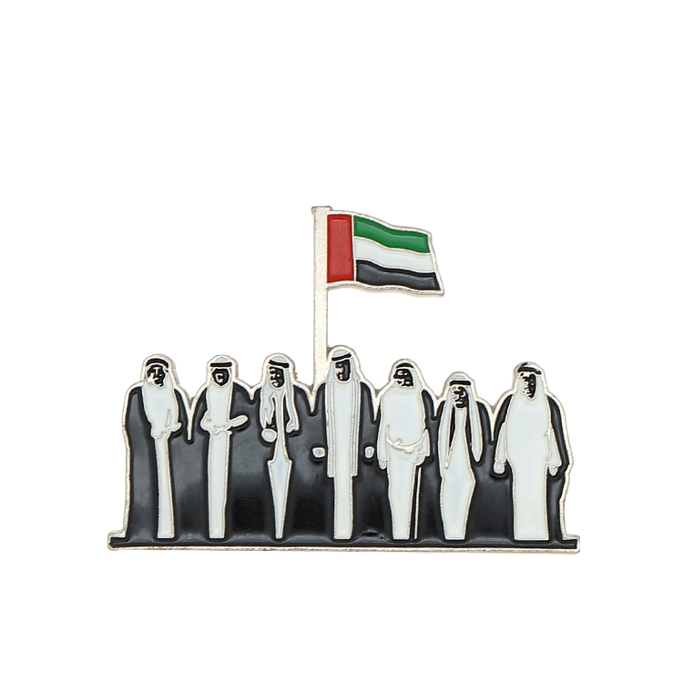 customized made UAE flag shape lapel pin magnet soft enamel badge for sale