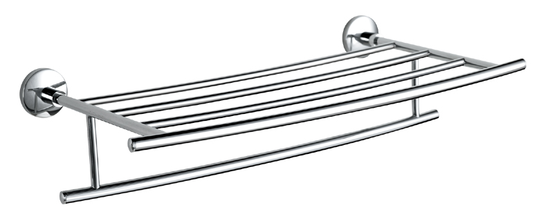 Bathroom Brass Glass Shelf Holder with Rail Wall Mounted, Polish Chrome sale