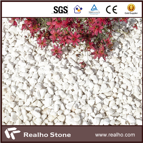 RH-CM-525 Crushed White Marble Gravel Chipped Stone for sale