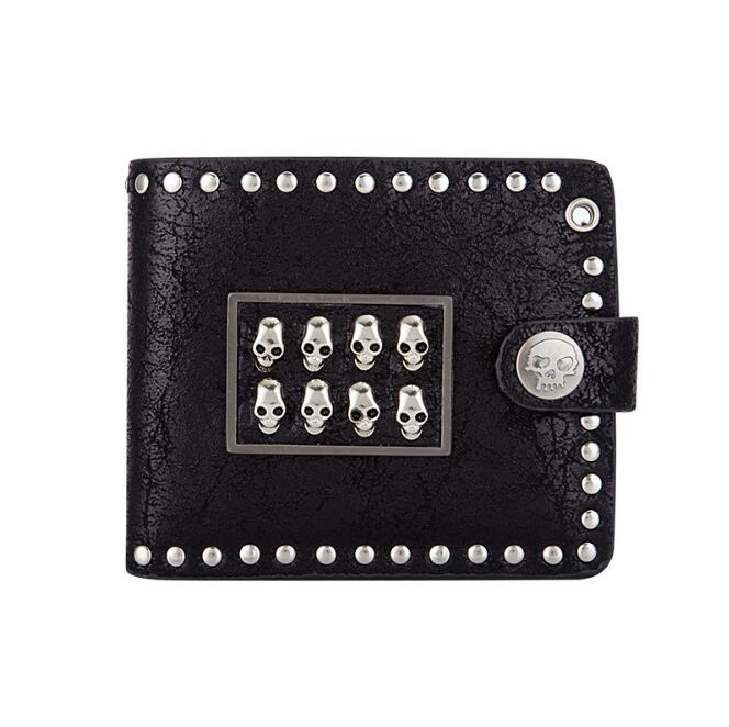Most welcomed 2018 European and American trend retro skull head male rock punk personality short horizontal style purse on Sale