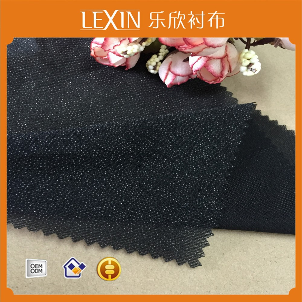 Warp knitted interlining/ 100% polyester interlining fabric/woven fusible suit interlining sale