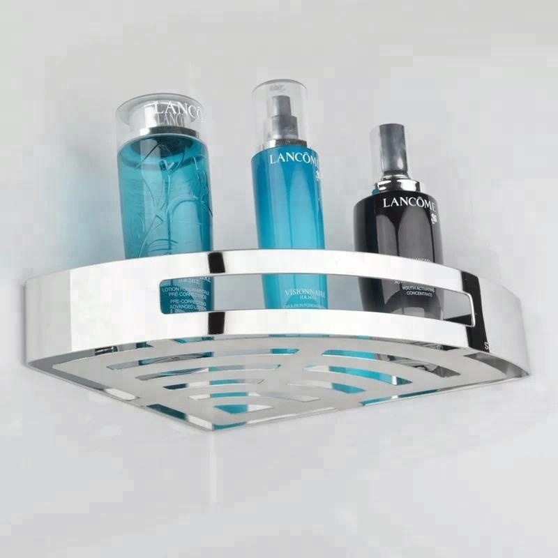 New product stainless steel corner frame bathroom single layer shelf thickening anti-collision sale