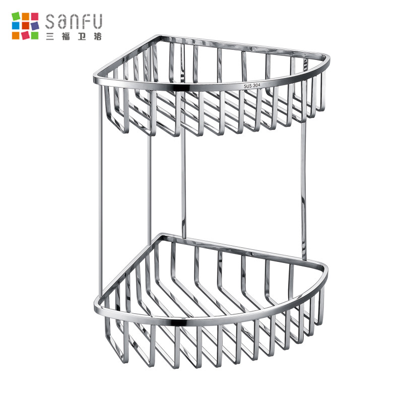 SUS304 Stainless steel Basket corner frame double corner pure solid Stainless steel double shelf corner bathroom frame sale