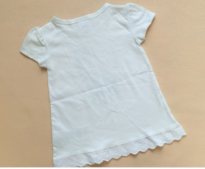 LT1095 100% cotton baby T-shirts with English lace hem for sale