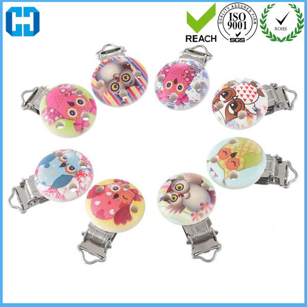 Wood Baby Pacifier Clips Round Metal Holders 3 Holes Dummy Clips for sale