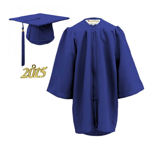 Wholesale preschool navy blue shiny kid graduation gown