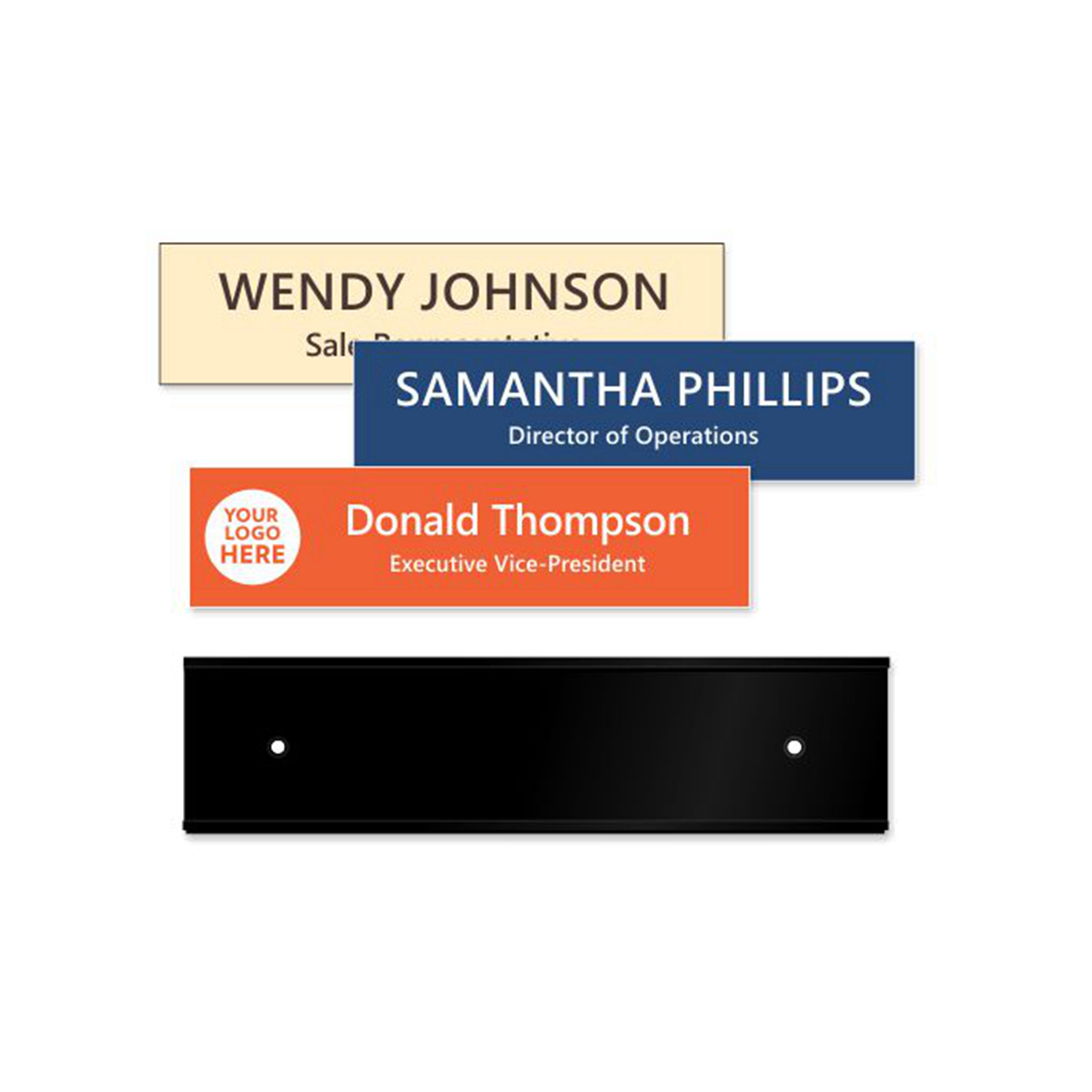 custom 2 x 8 inch Black Wall Frame with Engraved Plate office nameplate holder for sale