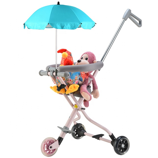 New luxury 3 wheel kids ride on car folding baby push car with umbrella for sale