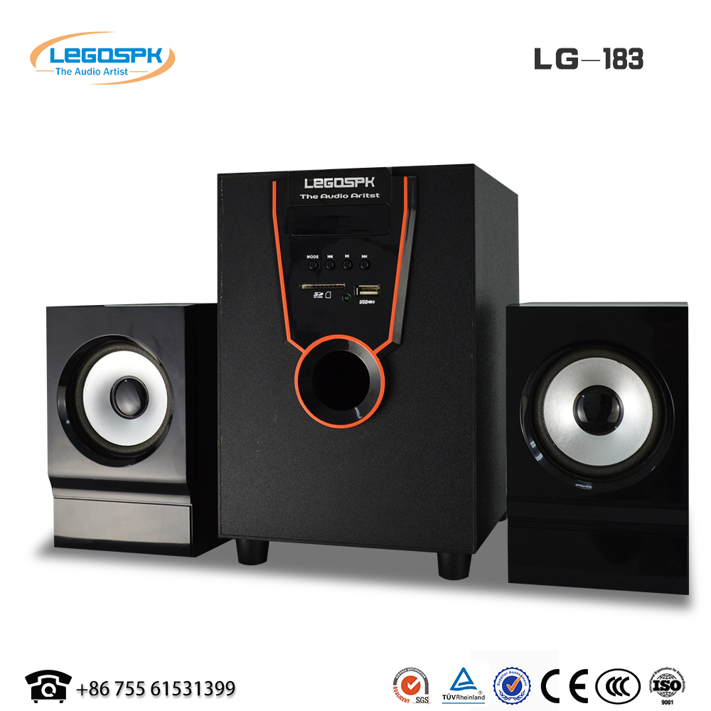2.1 multimedia speaker stereo sound system home theater speaker system with fm radio usb sd card for sale
