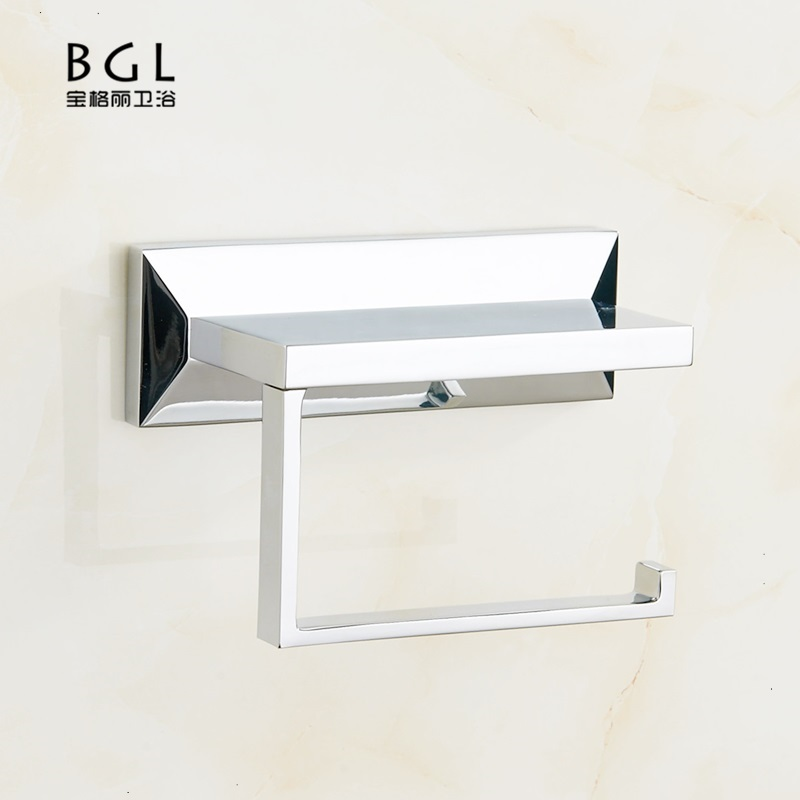 Brass Wall Mounted Chrome Plated Paper Toilet Holder With Mobile Phone Shelf sale