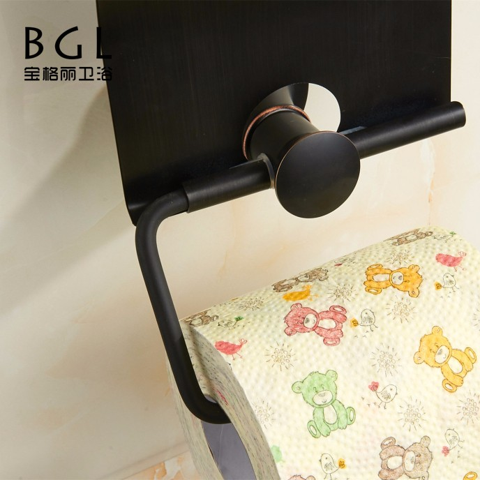 Bathroom fitting products metal simple style brass black toilet paper holder