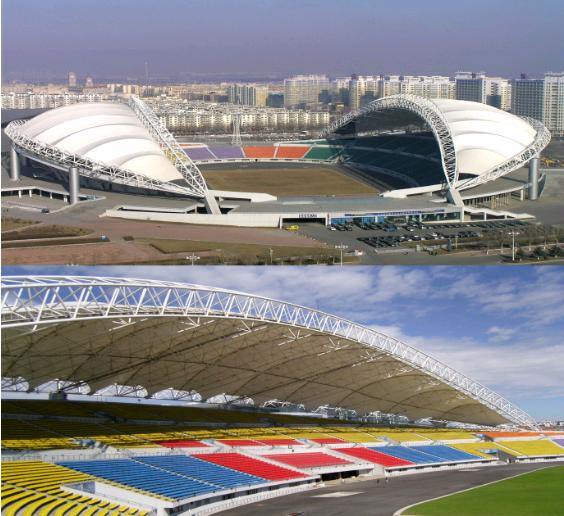 High quality stadium bleacher seats sunshine shade PVDF tensile membrane steel structure tent sale