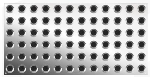 316 stainless steel tactile plates with black carborundum inserts.