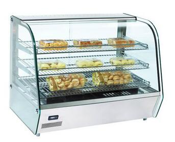 120L 160L Glass Door Cake Bread Food Countertop Display Warmer Showcase