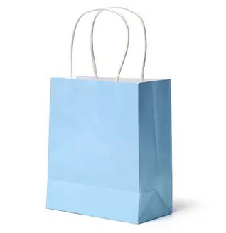Kraft Paper Gift Bag Handles Recyclable Loot Bag Blue