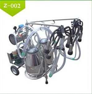 Cow/Sheep/Goat Milking Electric Vacuum Pump-typed Double-barreled Mobile Milking Machine With Stainless Steel Shelf Supplier