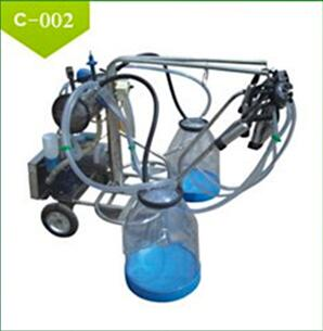 Electric Vacuum Pump-typed Double-barreled Mobile Milking Machine for Sale