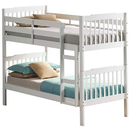 Double Decker Bed White Modern Style Kids Metal Loft Bunk Bed
