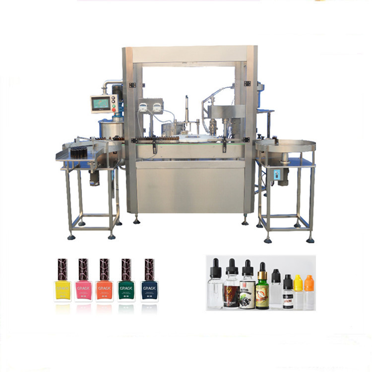 Automatic essential oil, e juice filling capping and