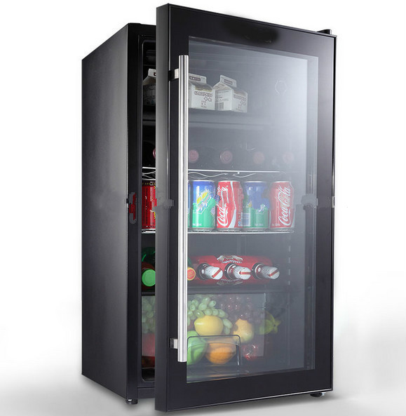 full black glass door dual zone wine cooler/fridge