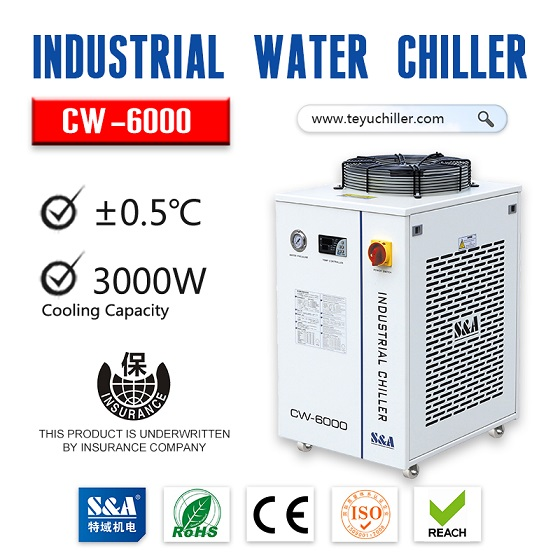 S&A recirculating water cooled chiller CW-6000 with +-0.5 degree celsius stability
