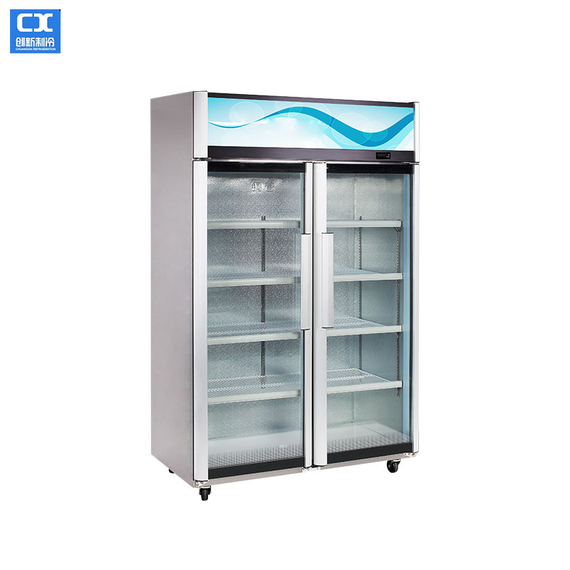 LSC-198 double swing glass door aluminum alloy display cabinet with Fan cooling system