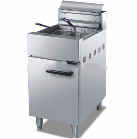 stainless steel gas fryer with one tank two baskets for fast food