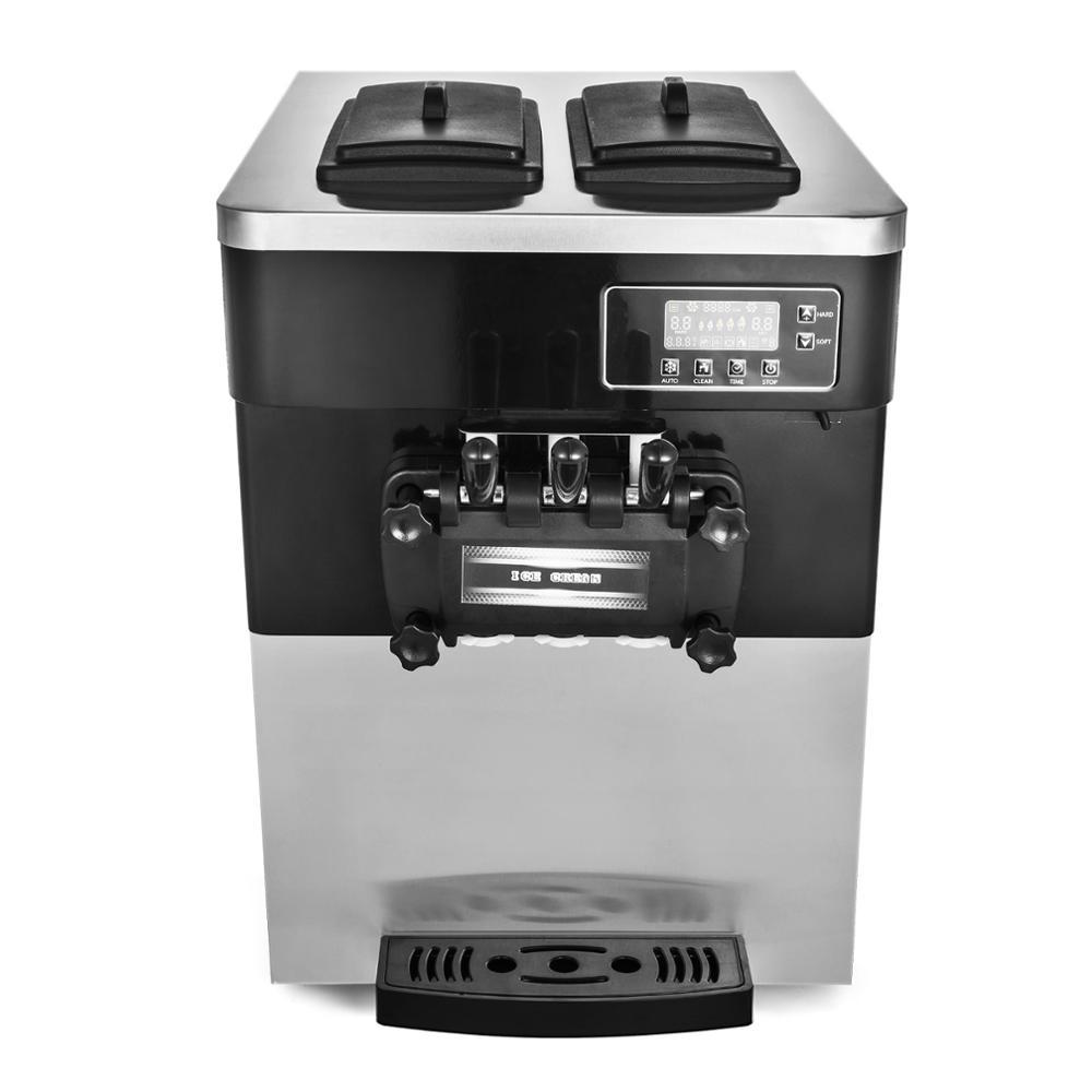 Ice Cream Machine Soft Ice Cream Maker Frozen Yogurt Making Machine 110V 3-flavor 28L/H
